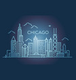 linear banner of chicago city line art vector image vector image
