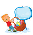 little boy is dragging a basket for easter vector image vector image
