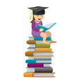 little girl reader wearing a mortar board vector image vector image