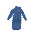 long blue woman down jacket with two pockets warm vector image