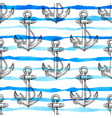 marine seamless pattern with anchor vector image