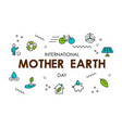 mother earth day card of green eco line icons vector image vector image