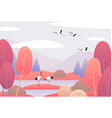nature scene with japanese cranes and autumn trees vector image