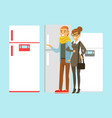 positive young family couple choosing fridge vector image vector image