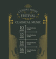 poster for the annual festival of classical music vector image vector image
