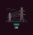 power line electricity supply flat style icon vector image vector image