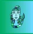 scorpio girl portrait zodiac water sign doodle vector image vector image