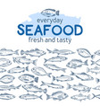 seamless border fish vector image vector image