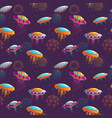 seamless cosmic pattern with colorful cartoon ufos vector image