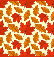seamless pattern with oak and maple autumn leaves vector image vector image