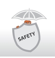 Security Behind a shield and under the umbrella vector image vector image