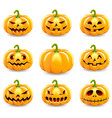 set halloween pumpkins collection isolated vector image