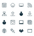 set of 16 web icons includes cursor tap account vector image vector image