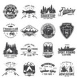 set of fishing and camping club badge vector image vector image