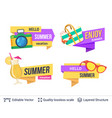 set of summer badges isolated on white vector image