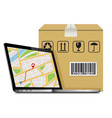 shipping parcel gps tracking order design laptop vector image vector image