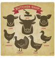 silhouettes of animals set butcher shop icons vector image vector image