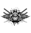 skull in samurai helmet and crossed samurai swords vector image