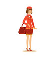 smiling beautiful stewardess character in red vector image vector image