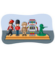 soldier figures and robot on wooden shelf vector image vector image