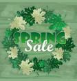 spring sale word on leaves vector image