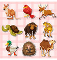 sticker design with different types of animals vector image vector image