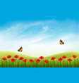 summer nature landscape background with red vector image