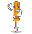 thumbs up screwdriver character cartoon style vector image
