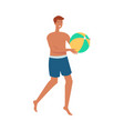 topless man with ball plays beach volley vector image