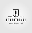 traditional spear shield spearheaded vintage logo vector image vector image