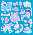unicorn multicolor stickers with unicorn cloud vector image