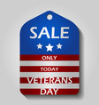 veterans day sale label or price tag with national vector image vector image