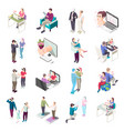virtual love isometric icons vector image vector image