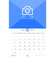 wall calendar for june 2019 design print template vector image vector image