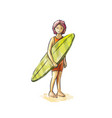 woman surfer stands with a board in his hands vector image