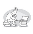young man sits in front of laptop vector image