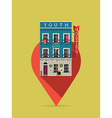 Youth Hostel on a Pin Icon vector image