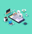 3d isometric smart appliances home on mobile phone vector image