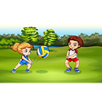 A girl and a boy playing volleyball vector image vector image