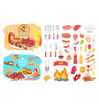 bbq party poster icons set vector image vector image