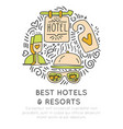 best hotel and resortes icon concept vector image