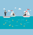 businessman and woman fishing money vector image vector image