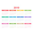 calendar 2019 template colorful design vector image