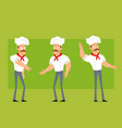 cartoon flat strong chef cook man character set vector image vector image