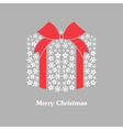christmas gift box with white snowflake vector image