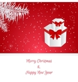 Christmas red card White Christmas tree branches vector image