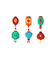 colorful chinese festival lanterns set decorative vector image vector image
