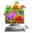 Computer screen with dinosaurs and volcano vector image vector image