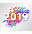 creative happy new year 2019 card on modern vector image