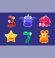 cute jelly creatures and number seven set glossy vector image vector image